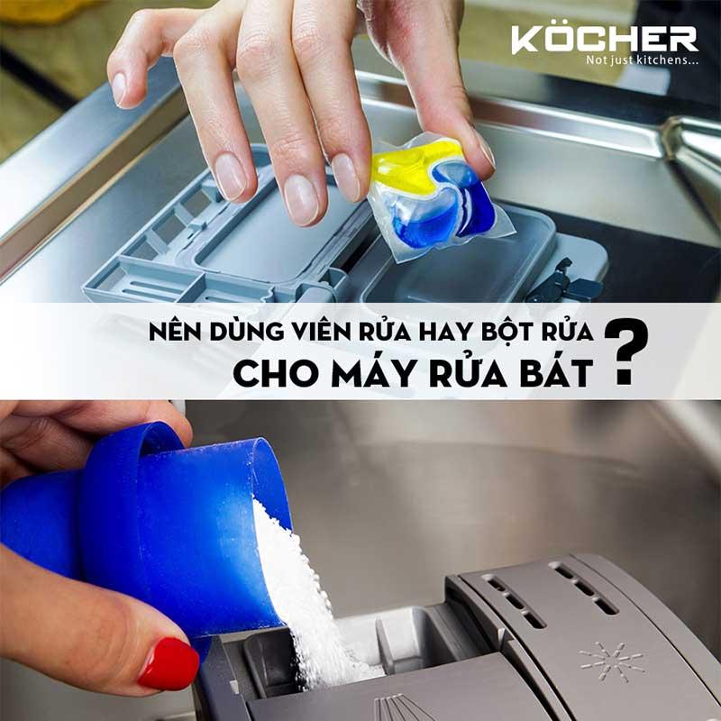 Nên dùng viên rửa hay bột rửa cho máy rửa bát