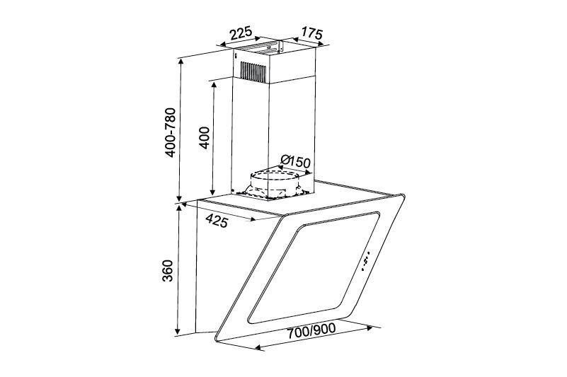thông số kỹ thuật máy hút mùi k-2080v